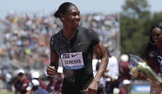 FILE - In this Sunday, June 30, 2019 file photo, South Africa's Caster Semenya smiles after winning the women's 800-meter race during the Prefontaine Classic, an IAAF Diamond League athletics meeting, in Stanford, Calif. USA. Caster Semenya's lawyer said Tuesday Nov. 17, 2020, they will take her case against the world track and field federation to the European Court of Human Rights in what's likely to be a last-ditch legal challenge against regulations that require the South African and some other female athletes to artificially lower their natural testosterone levels to compete. (AP Photo/Jeff Chiu, File)
