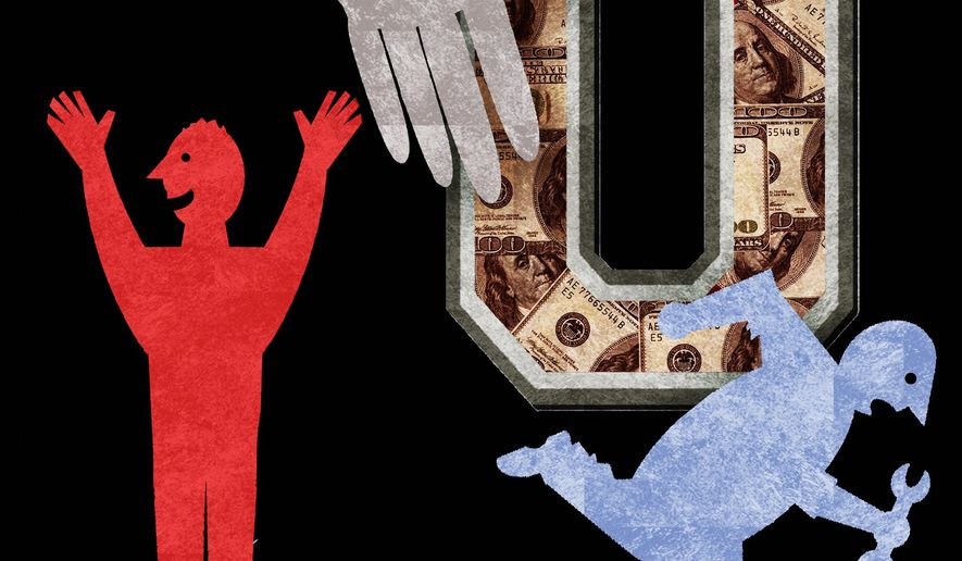 Illustration on forgiving student loans by Alexander Hunter/The Washington Times