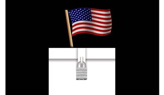 Illustration on the singularity of the American vote by Alexander Hunter/The Washington Times