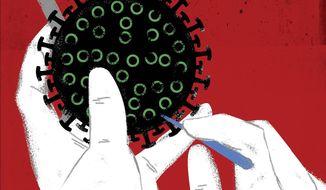 Illustration on politicizing COVID19 by Linas Garsys/The Washington Times