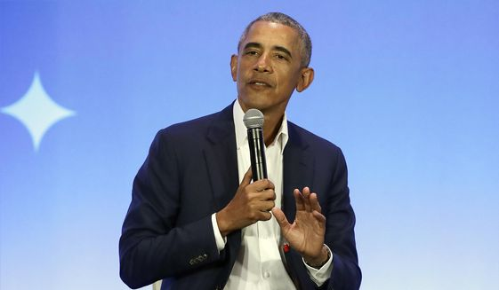 This Feb. 19, 2019, file photo shows former President Barack Obama speaking at the My Brother's Keeper Alliance Summit in Oakland, Calif. (AP Photo/Jeff Chiu, File)