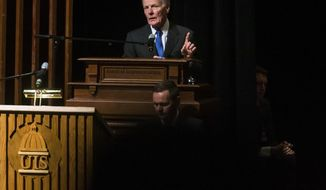 FILE - In this Wednesday, Jan. 9, 2019, file photo, Illinois Speaker of the House Michael Madigan, D-Chicago, delivers his remarks after being elected the Speaker of the House for his 19th term during the inauguration ceremony for the Illinois House of Representatives for the 101st General Assembly at the University of Illinois Springfield's Sangamon Auditorium, in Springfield, Ill. Four people, including an associate of Madigan, have been charged with orchestrating a bribery scheme with Commonwealth Edison. (Justin L. Fowler/The State Journal-Register via AP, File)