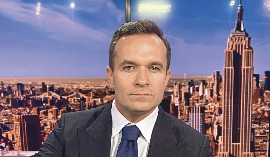 This image released by Newsmax shows Greg Kelly, a former personality at Fox's New York affiliate who is Newsmax's most polished broadcaster. (Newsmax via AP)