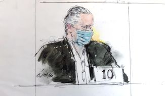 FILE - In this Oct. 16, 2020, court artist sketch, former Mexican defense secretary Gen. Salvador Cienfuegos Zepeda's appears in federal court in Los Angeles. The U.S. Justice Department is dropping its drug trafficking and money laundering against former Mexican defense secretary Gen. Salvador Cienfuegos, Attorney General William Barr said Tuesday, Nov. 17, 2020. (Bill Robles via AP, File)