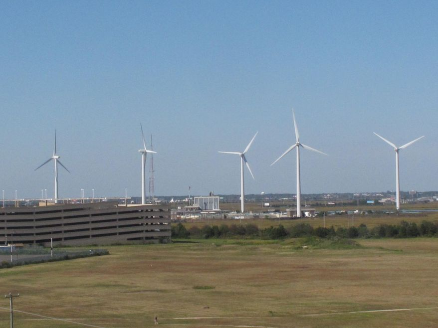 This Oct. 1, 2020 photo shows windmills at a utility plant in Atlantic City N.J. (AP Photo/Wayne Parry) **FILE**