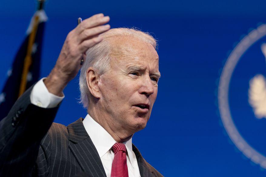 President-elect Joe Biden speaks at The Queen theater, Thursday, Nov. 19, 2020, in Wilmington, Del. (AP Photo/Andrew Harnik)