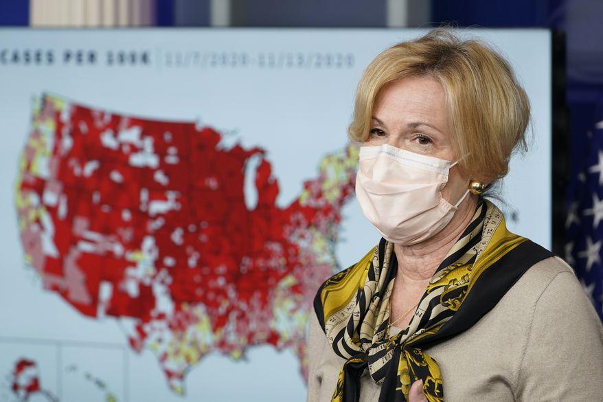 White House Coronavirus Response Coordinator Dr. Deborah Birx speaks during a news conference with the coronavirus task force at the White House in Washington, Thursday, Nov. 19, 2020. (AP Photo/Susan Walsh)