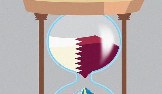 Illustration on relation with Qatar by Linas Garsys/The Washington Times