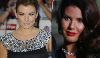 This is a combinarion file photo of Colleen Rooney arrives for the Pride of Britain Awards at a central London venue, Monday, Oct. 3, 2011, and Rebekah Vardy arriving at The Sun Military Awards 2016 in London, Wednesday, Dec. 14, 2016.  A courtroom drama mixing celebrities, amateur sleuthing and social media has kicked off in London, where one famous soccer spouse denies leaking stories about another to the tabloid press. Rebekah Vardy is suing Coleen Rooney for libel after Rooney accused her of passing details of private Instagram posts to The Sun newspaper.  (AP Photo/Invision, File)