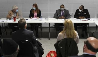 In this file photo, Wayne County [Mich.] Board of Canvassers, from left, Republican member William Hartmann, Republican chairperson Monica Palmer, Democrat vice chair Jonathan Kinloch, and Democratic member Allen Wilson discuss a motion to certify election results during a board meeting in Detroit on Tuesday, Nov. 17, 2020. (Robin Buckson/Detroit News via AP)  **FILE**