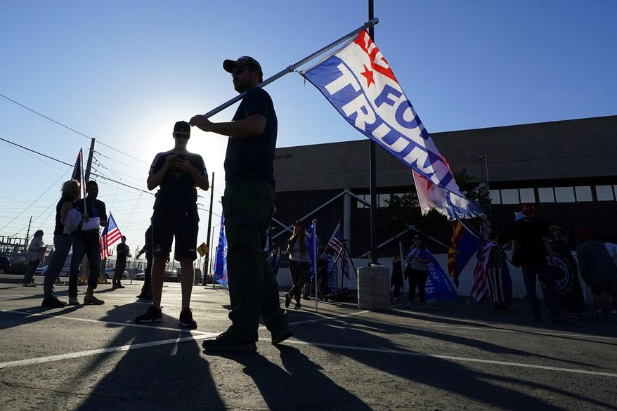 Supporters of President Donald Trump rally outside the Maricopa County Elections Department as the agency conducts a post-election logic and accuracy test for the general election Wednesday, Nov. 18, 2020, in Phoenix. (AP Photo/Ross D. Franklin)