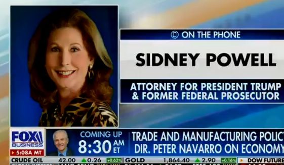 Attorney Sidney Powell speaks with Fox News anchor Maria Bartiromo, Nov. 20, 2020. (Image: Fox Business video screenshot)
