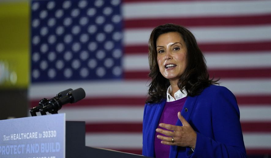 In this Friday, Oct. 16, 2020, file photo, Michigan Gov. Gretchen Whitmer speaks during an event with Democratic presidential candidate former Vice President Joe Biden at Beech Woods Recreation Center in Southfield. (AP Photo/Carolyn Kaster, File)