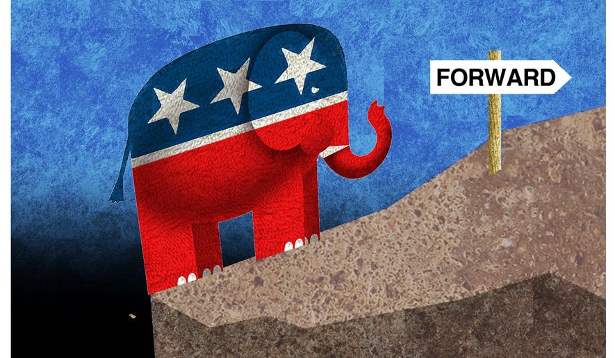 Illustration on the future of the Republican Party by Alexander Hunter/The Washington Times