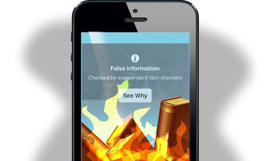 Illustration on Facebook censorship by Alexander Hunter/The Washington Times