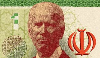 Illustration on Joe Biden and the Iran deal by Linas Garsys/The Washington Times