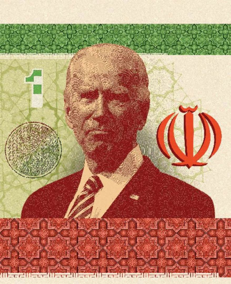Illustration on Joe Biden and the Iran deal by Linas Garsys/The Washington Times