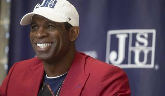 FILE - In this Sept. 22, 2020 file photo, Deion Sanders speaks to media during a news conference about his new position as Jackson State University's head football coach at JSU's Walter Payton Health and Recreation Center, in Jackson, Miss. (Eric Shelton/The Clarion-Ledger via AP, File)