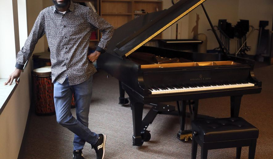 Terrance Shepherd, 31, is a Radford University graduate student pursuing a career in music and music education in Radford Va., Wednesday, Nov. 11, 2020. (Matt Gentry/The Roanoke Times via AP)