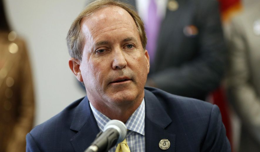 In this Sept. 10, 2020, file photo, Texas Attorney General Ken Paxton speaks at the Austin Police Association in Austin, Texas.  Paxton had an extramarital affair with a woman whom he later recommended for a job with the wealthy donor now at the center of criminal allegations against him, according to two people who said Paxton told them about the relationship.  (Jay Janner/Austin American-Statesman via AP, File)
