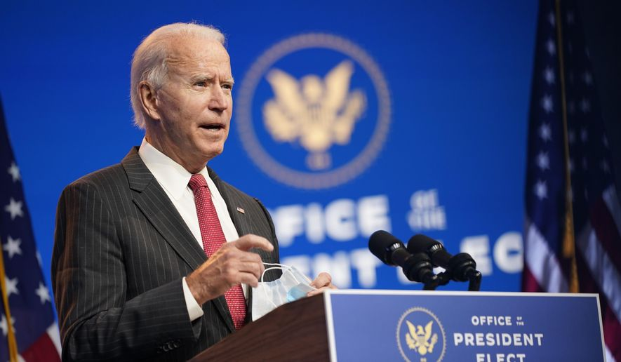 In this Nov. 19, 2020, photo President-elect Joe Biden speaks at The Queen theater in Wilmington, Del. (AP Photo/Andrew Harnik) **FILE**