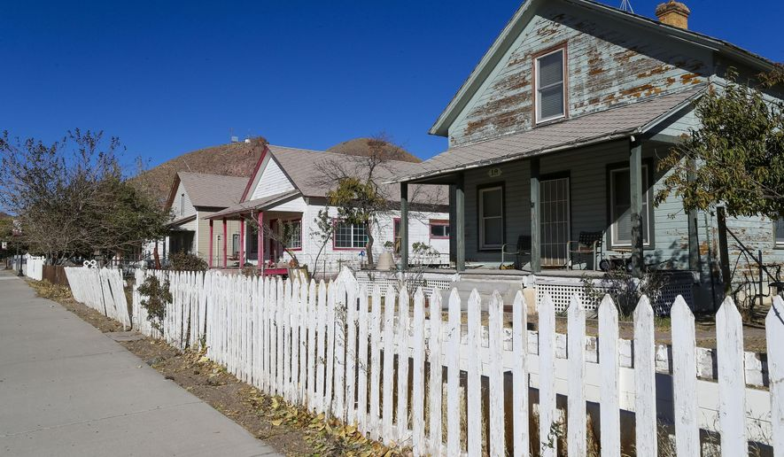 Homes are seen in Caliente, Nev., Wednesday, Oct. 28, 2020. Lincoln County is among the rural pockets nationwide and in Nevada seeing COVID-19 straining limited medical resources. (Wade Vandervort/Las Vegas Sun via AP)