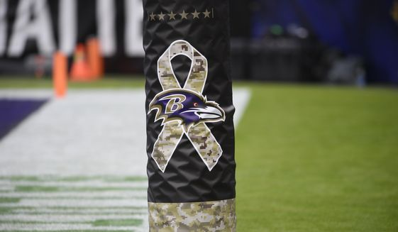 Salute to Service signage seen during the second half of an NFL football game between the Tennessee Titans and the Baltimore Ravens, Sunday, Nov. 22, 2020, in Baltimore. (AP Photo/Nick Wass)  **FILE**