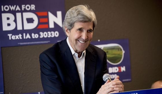 FILE - In this Jan. 9, 2020, file photo former Secretary of State John Kerry smiles while speaking at a campaign stop to support Democratic presidential candidate former Vice President Joe Biden at the Biden for President Fort Dodge Office in Fort Dodge, Iowa. (AP Photo/Andrew Harnik, File)