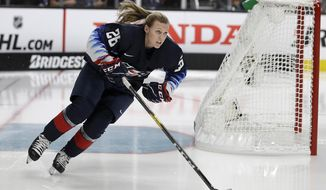 FILE - In this Jan. 25, 2019, file photo, United States' Kendall Coyne Schofield skates during the Skills Competition, part of the NHL All-Star weekend, in San Jose, Calif. The Chicago Blackhawks on Monday, Nov. 23, 2020, hired Kendall Coyne Schofield as player development coach. She's the first woman to hold that job in the organization's history. The former U.S. women's national team player will additionally serve as the team's youth hockey growth specialist. (AP Photo/Ben Margot, File)