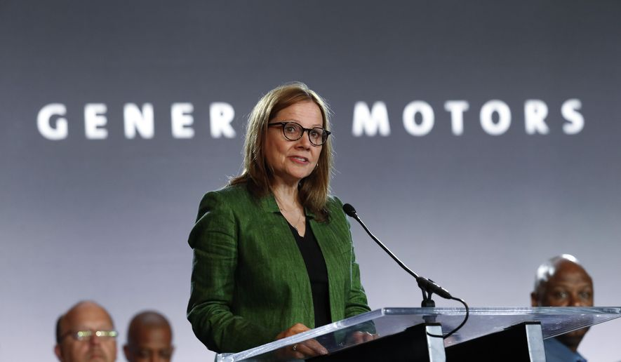 In this July 16, 2019, file photo, General Motors Chairman and Chief Executive Officer Mary Barra speaks during the opening of their contract talks with the United Auto Workers in Detroit.  (AP Photo/Paul Sancya) ** FILE **