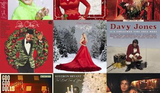 "This combination photo shows holiday album covers, top row from left, ""A Tori Kelly Christmas"" by Tory Kelly, ""A Holly Dolly Christmas"" by Dolly Parton, ""A Very Trainor Christmas"" by Meghan Trainor, second row from left, ""The Christmas Album"" by Leslie Odom Jr., ""The Gift,"" by Carrie Underwood,  ""It's Christmas Time Once More"" by Davy Jones, bottom row from left, ""It's Christmas All Over"" by the Goo Goo Dolls, ""The Best Time of Year"" by Keedron Bryant and ""The Pianoman at Christmas"" by Jamie Cullum. (Capitol and Schoolboy/Butterfly/Epic/S-Curve Records and BMG/Capitol Records Nashville/Not Too Late Records/Warner/Warner/Blue Note via AP)"