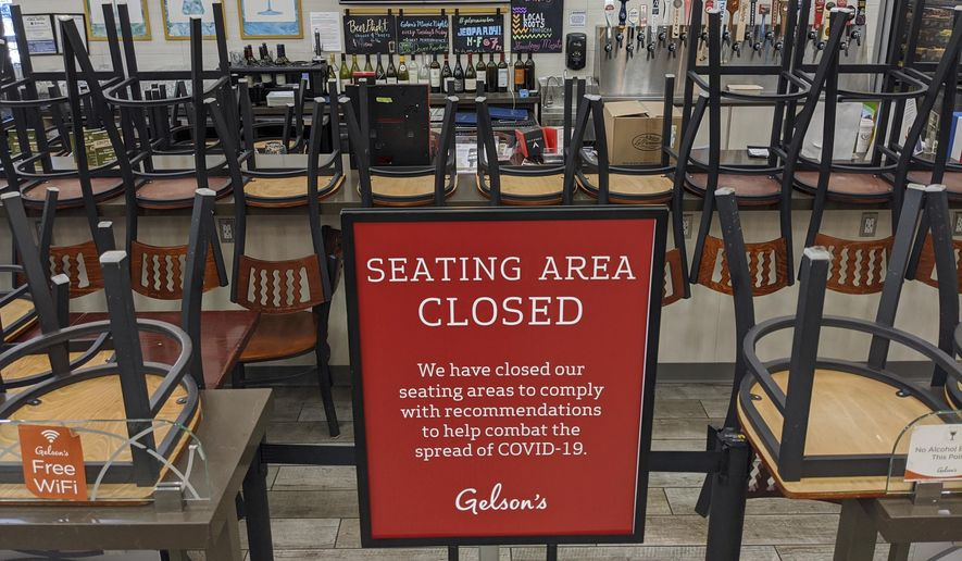 In this March 26, 2020, file photo, an indoors sitting bar is closed inside the Gelson's Market in the Los Feliz neighborhood of Los Angeles. Los Angeles County announced new coronavirus-related restrictions Sunday, Nov. 22, 2020, that will prohibit in-person dining for at least three weeks as cases rise at the start of the holiday season and officials statewide begged Californians to avoid traveling or gathering in groups for Thanksgiving. LA County's new rules take effect Wednesday at 10 p.m., restaurants, breweries, wineries and bars will only be able to offer takeout, drive-thru, and delivery services. (AP Photo/Damian Dovarganes, File)