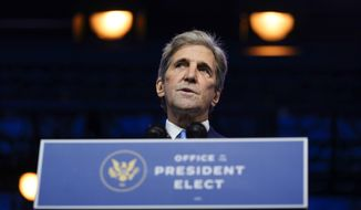President-elect Joe Biden's climate envoy nominee former Secretary of State John Kerry speaks at The Queen theater, Tuesday, Nov. 24, 2020, in Wilmington, Del. (AP Photo/Carolyn Kaster)