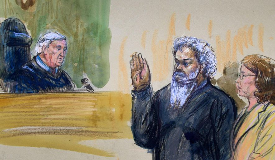 FILE - This June 28, 2014, artist's rendering shows United States Magistrate, Judge John Facciola, swearing in the defendant, Libyan militant Ahmed Abu Khatallah, wearing a headphone, as his attorney Michelle Peterson watches during a hearing at the federal U.S. District Court in Washington.  (AP Photo/Dana Verkouteren)