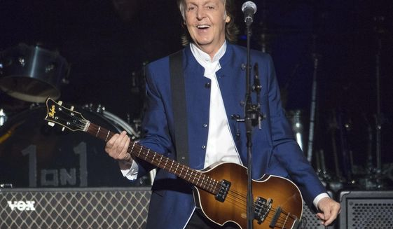 In this Monday, July 10, 2017 file photo, Paul McCartney performs at Amalie Arena in Tampa, Fla. (AP Photo/Scott Audette, FILE)
