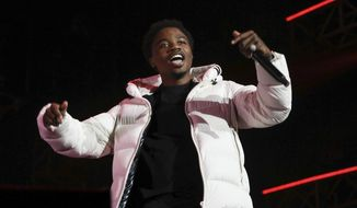 Roddy Ricch performs at the 7th annual BET Experience in Los Angeles on June 21, 2019. Ricch, Taylor Swift and Dua Lipa each earned six Grammy nominations on Tuesday, Nov. 24, 2020. (Photo by Mark Von Holden/Invision/AP, File)