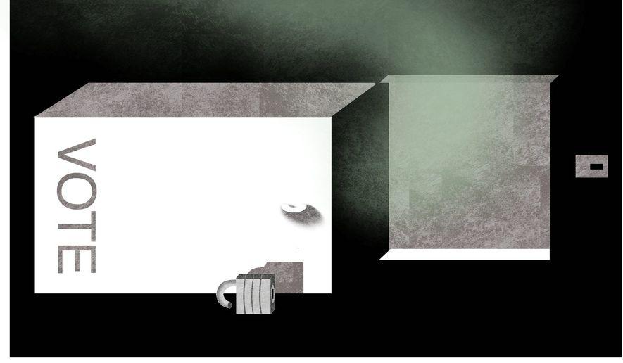 Illustration  on vote fraud by Alexander Hunter/The Washington Times