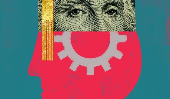 Illustration on student debt by Linas Garsys/The Washington Times