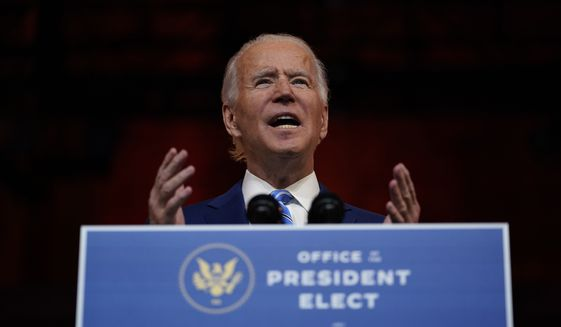 President-elect Joe Biden speaks at The Queen theater, Wednesday, Nov. 25, 2020, in Wilmington, Del. (AP Photo/Carolyn Kaster)