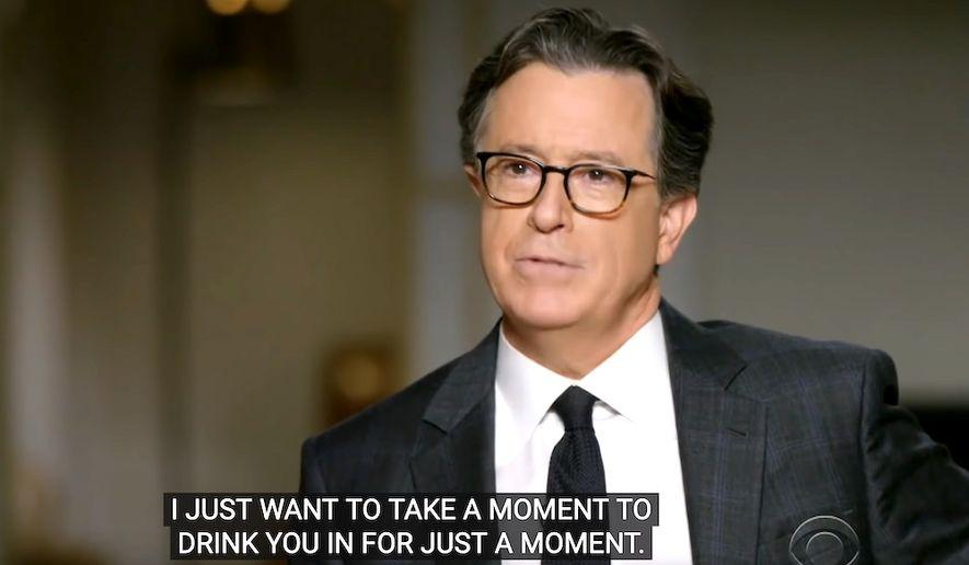 "Stephen Colbert interviews former President Obama, Nov. 24, 2020. (Image: CBS, ""The Late Show with Stephen Colbert"" video screenshot)"