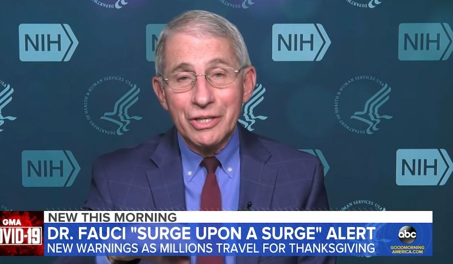 """Dr. Anthony Fauci warns Americans about spreading COVID-19 at Thanksgiving gatherings, Nov. 25, 2020. (Image: ABC, """"Good Morning America"""" video screenshot)"""