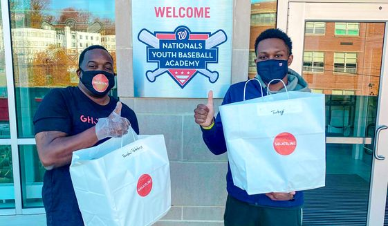 The Nationals' Youth Baseball Academy has served as a food distribution site, and that continued during Thanksgiving week. (Courtesy of Nationals)