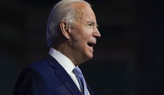President-elect Joe Biden speaks as he introduces nominees and appointees to key national security and foreign policy posts at The Queen theater, Tuesday, Nov. 24, 2020, in Wilmington, Del. (AP Photo/Carolyn Kaster)