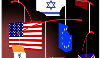 Illustration on new dynamics in relations with Israel by Alexander Hunter/The Washington Times