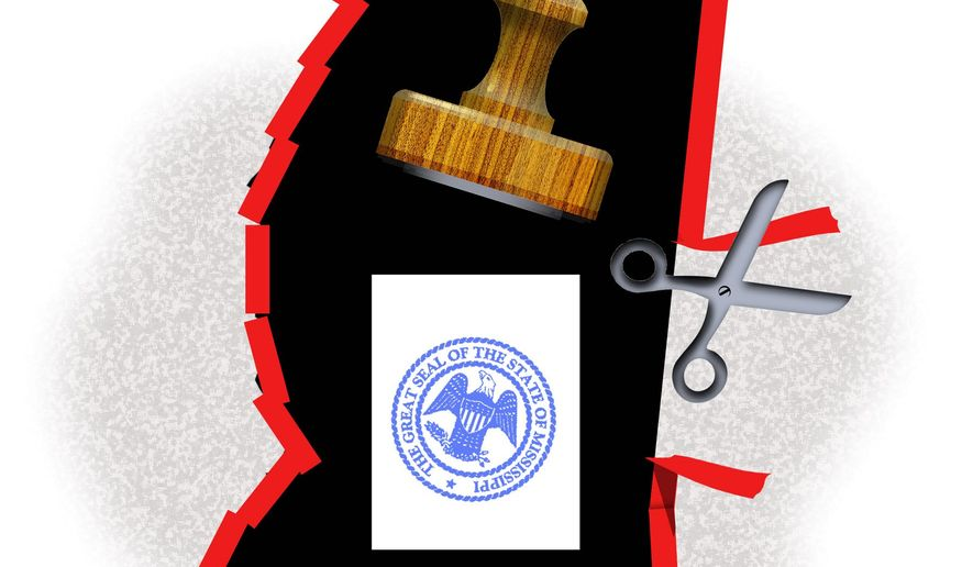 Illustration on state licensing in Mississippi by Alexander Hunter/The Washington Times
