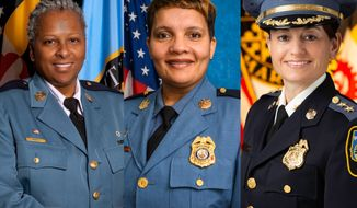 Amal Awad City of Hyattsville (lett), Lisa Myers Howard County (center), and Melissa Hyatt Baltimore County (right) have secured the top police positions — and a place in history — in three Maryland counties for the first time ever.