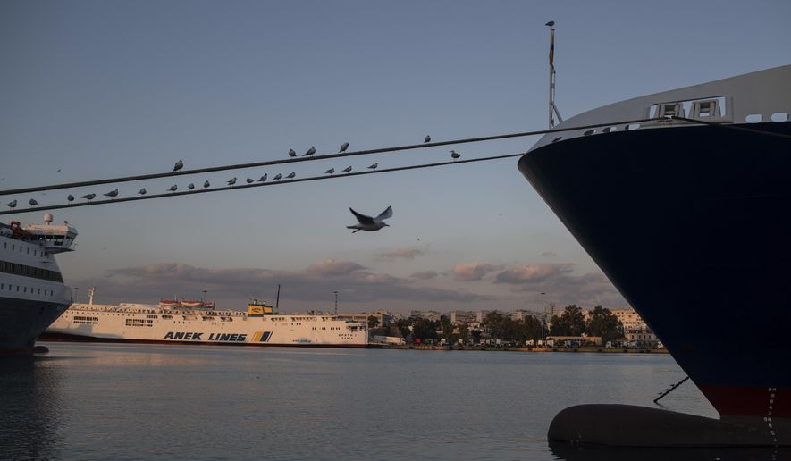 A seagull flies as other stand on the rope of a docked ferry at the port of Piraeus, near Athens during a 24-hour strike on Thursday, Nov. 26, 2020. Ferries to the islands were halted and the Athens metro system and tram were shut for Thursday's strike, although buses continued to run in the capital. (AP Photo/Petros Giannakouris)