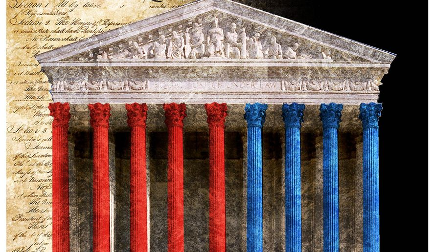 Illustration on the newly configured Supreme Court by Alexander Hunter/The Washington Times