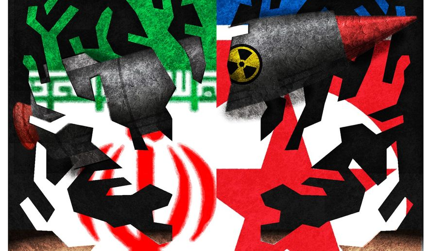 Illustration on the root problems of Iran and North Korea by Alexander Hunter/The Washington Times