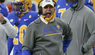 Pittsburgh head coach Pat Narduzzi yells to his team as they play against Virginia Tech during the first half of an NCAA college football game, Saturday, Nov. 21, 2020, in Pittsburgh. (AP Photo/Keith Srakocic)
